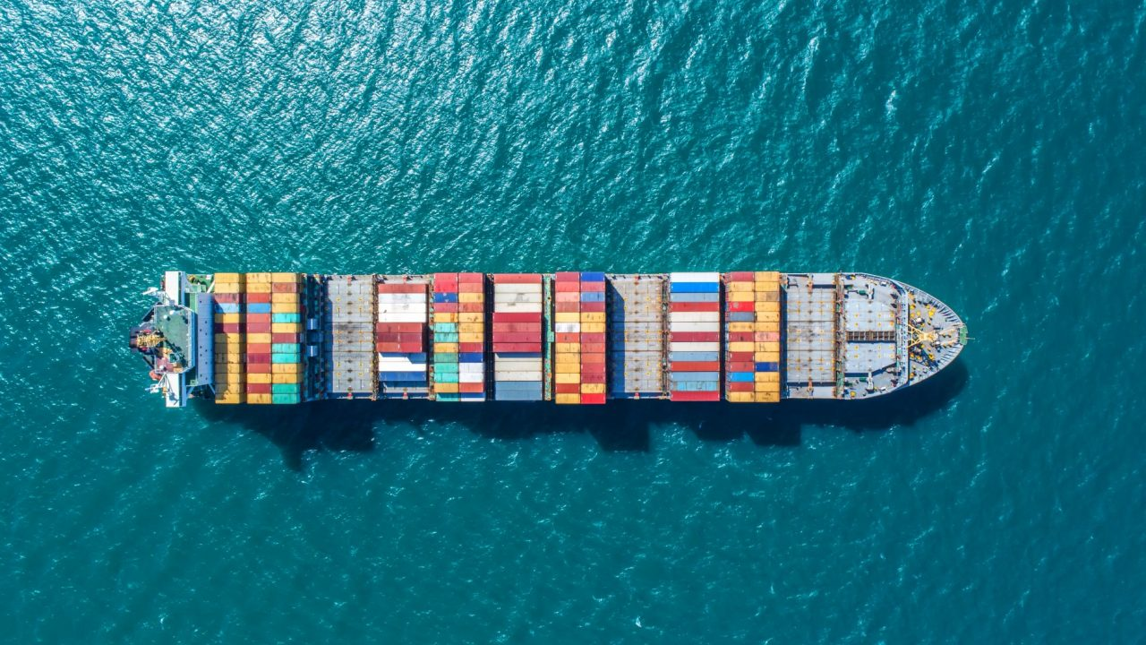 Container Ship on the Ocean, from above